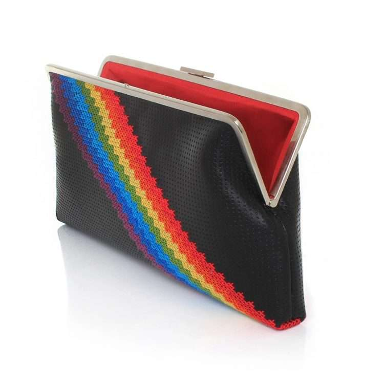 pixel rainbow clutch me bags black multicolor clutch me day handwork discotheque open