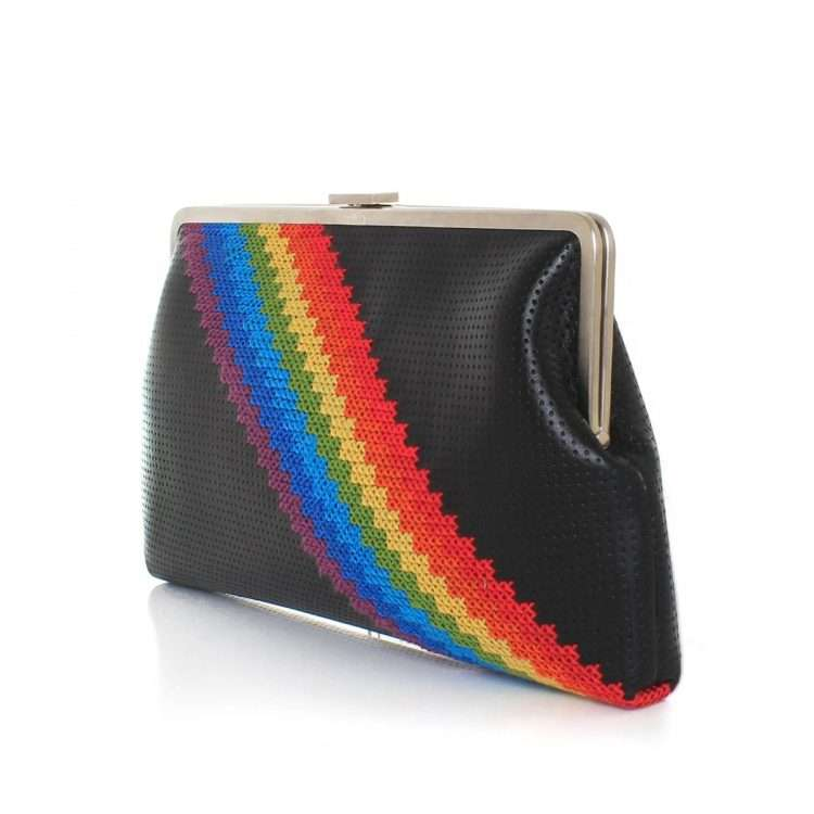 pixel rainbow clutch me bags black multicolor clutch me day handwork discotheque side