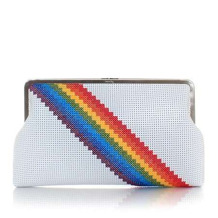 pixel rainbow white clutch me bags multicolor white clutch me day handwork discotheque front