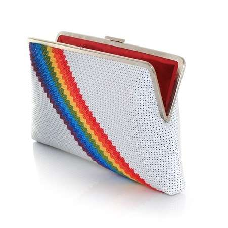 pixel rainbow white clutch me bags multicolor white clutch me day handwork discotheque open