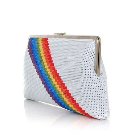 pixel rainbow white clutch me bags multicolor white clutch me day handwork discotheque side