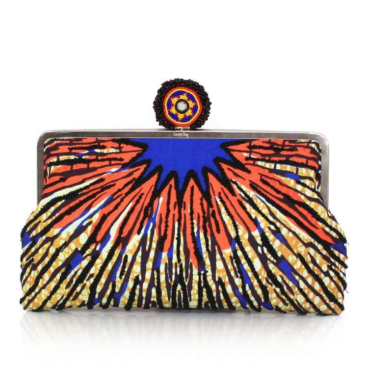 burst clutch me bags multicolor orange clutch me day handwork afrodisiac front