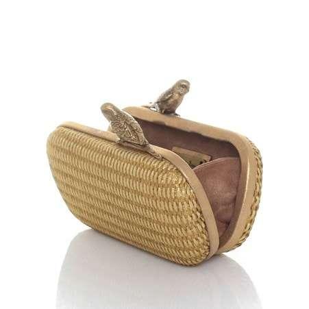 birds gold straw box bags gold neutrals box evening handwork afrodisiac bridal open