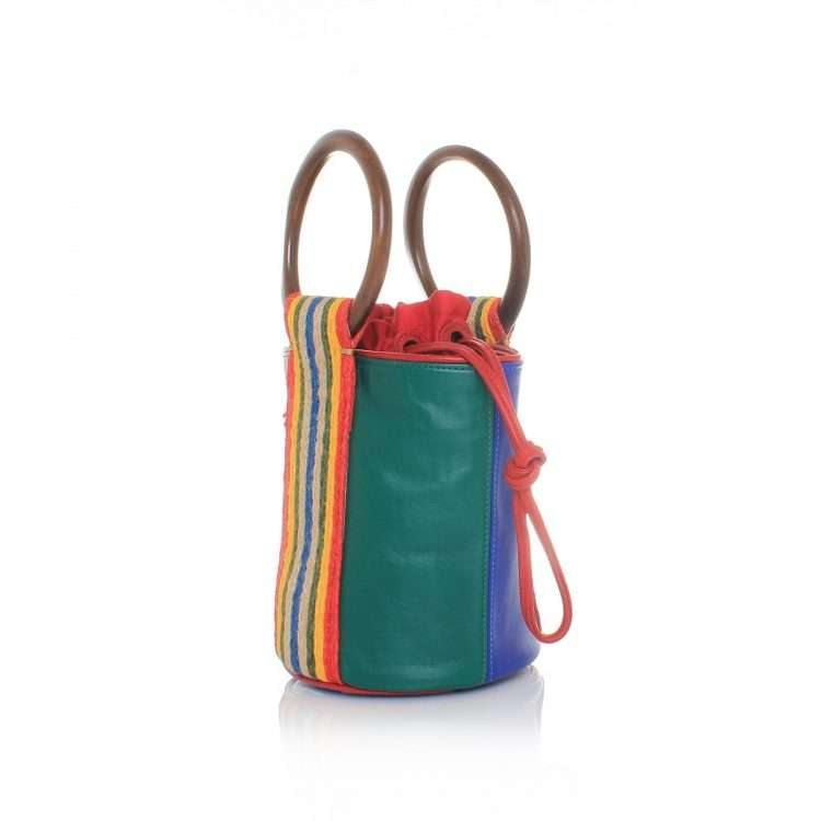 duo bucket bag bags blue green multicolor bucket bag day handwork afrodisiac side