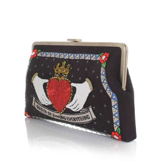 queen black clutch me bags black red clutch me day handwork love inked side