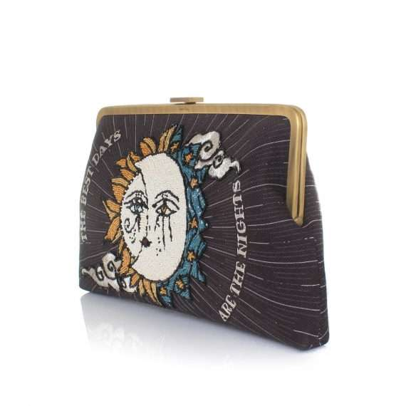 sun to moon black clutch me bags black clutch me day handwork love inked side