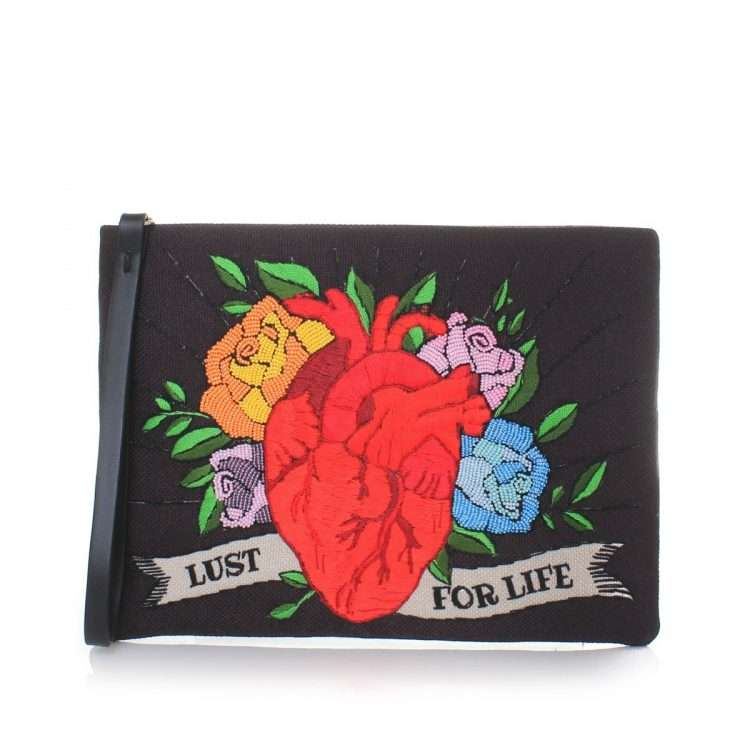 corazon black pouch bags black red pouch day handwork love inked front