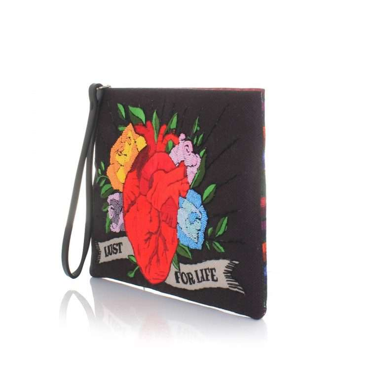 corazon black pouch bags black red pouch day handwork love inked side