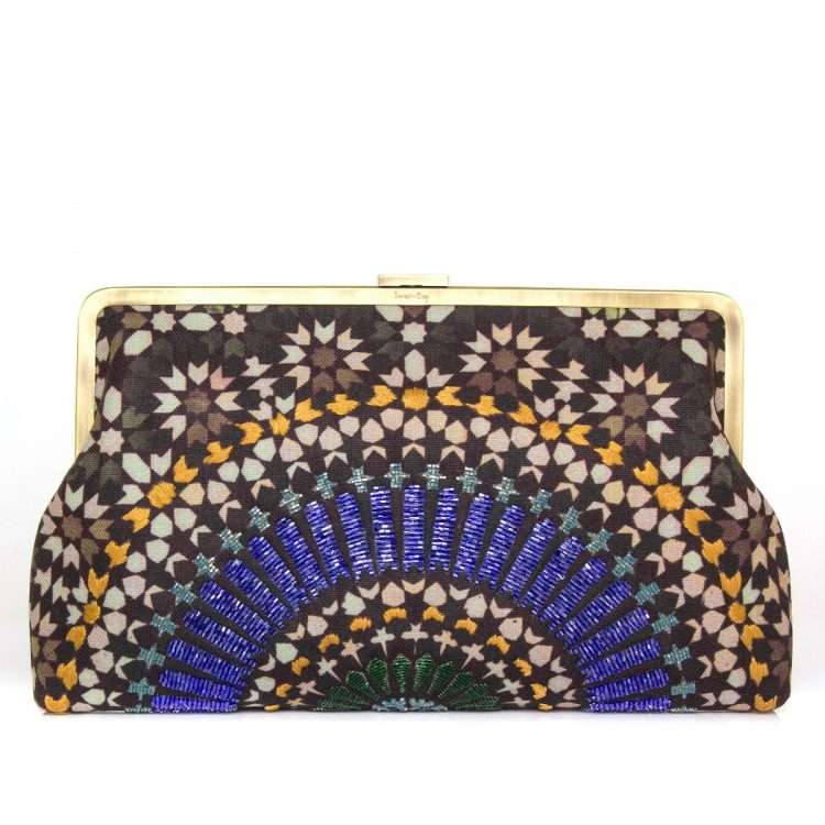 zellige sapphire clutch me bags blue clutch me day handwork oriental front