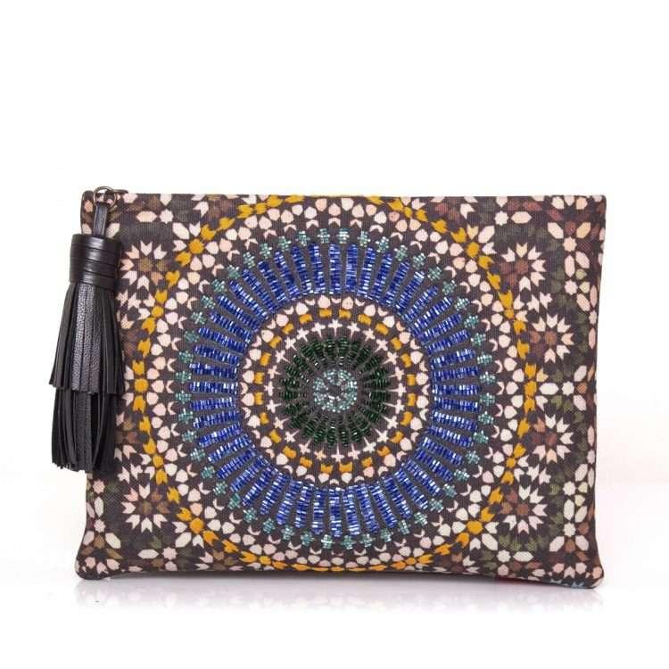 zellige sapphire pouch bags blue metallic pouch day handwork oriental front