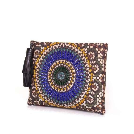 zellige sapphire pouch bags blue metallic pouch day handwork oriental side