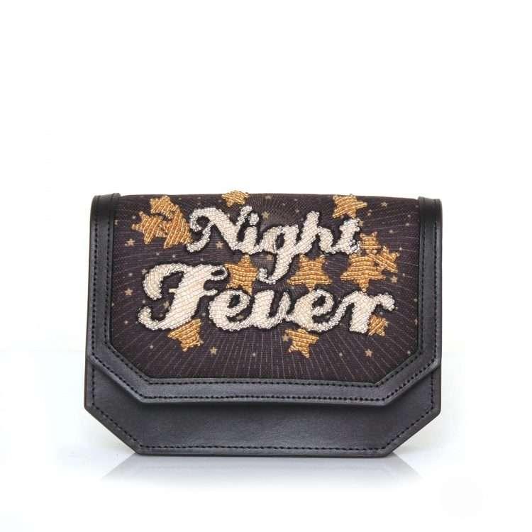 night fever belt bag bags black gold belt bag evening handwork discotheque front