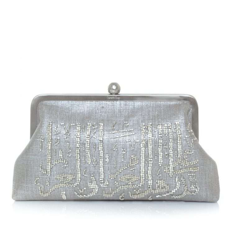 calligraphy silver classic bags metallic silver classic evening handwork oriental front