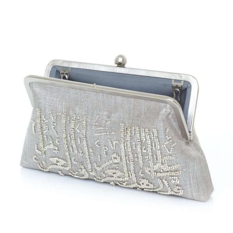 calligraphy silver classic bags metallic silver classic evening handwork oriental open