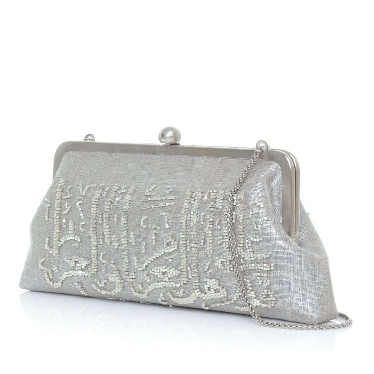 calligraphy silver classic bags metallic silver classic evening handwork oriental side