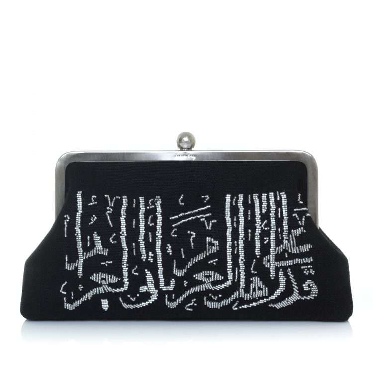 calligraphy silver on black classic bags black metallic silver classic evening handwork oriental front