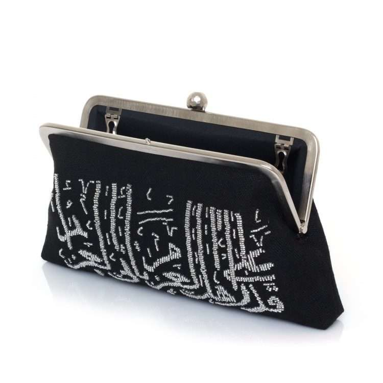 calligraphy silver on black classic bags black metallic silver classic evening handwork oriental open