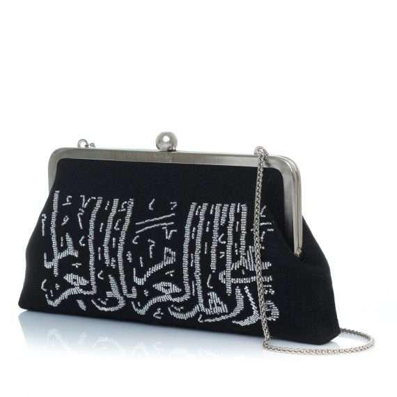 calligraphy silver on black classic bags black metallic silver classic evening handwork oriental side