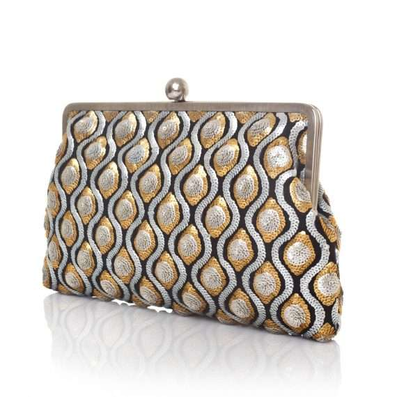 retro embossed clutch me bags gold metallic silver clutch me evening handwork essentials side
