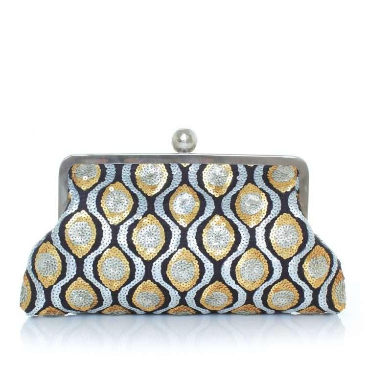 retro embossed classic bags gold metallic silver classic evening handwork essentials front