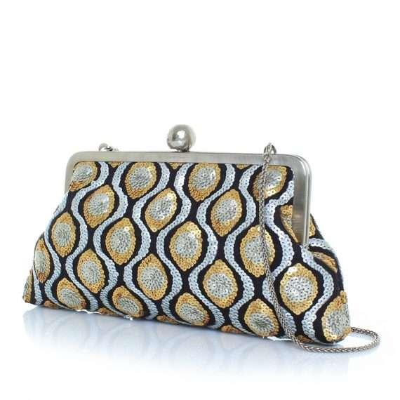 retro embossed classic bags gold metallic silver classic evening handwork essentials side