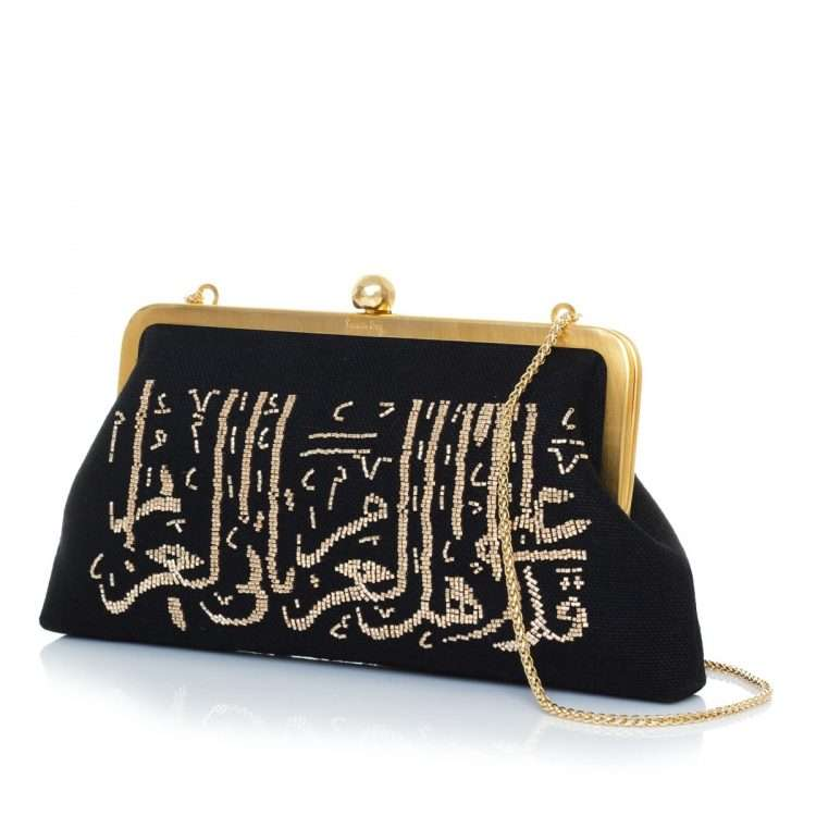calligraphy gold on black classic bags black gold metallic classic evening handwork oriental side