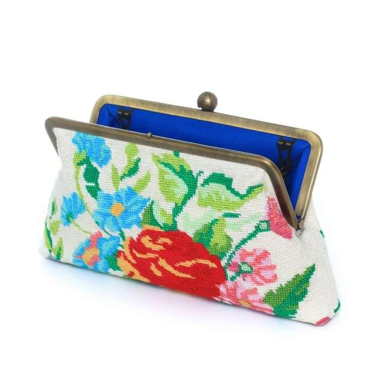 flowers canvas classic bags multicolor neutrals classic day handwork essentials open