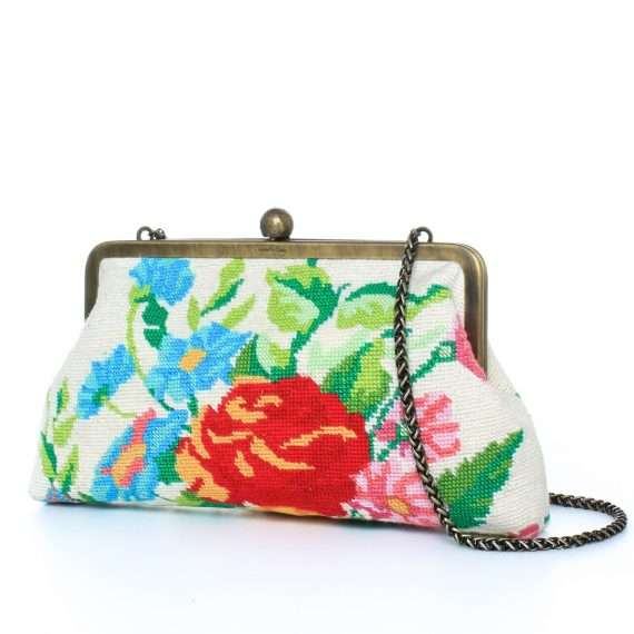 flowers canvas classic bags multicolor neutrals classic day handwork essentials side