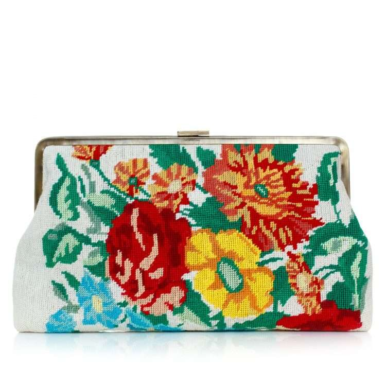 flowers canvas clutch me bags multicolor neutrals classic day handwork essentials front