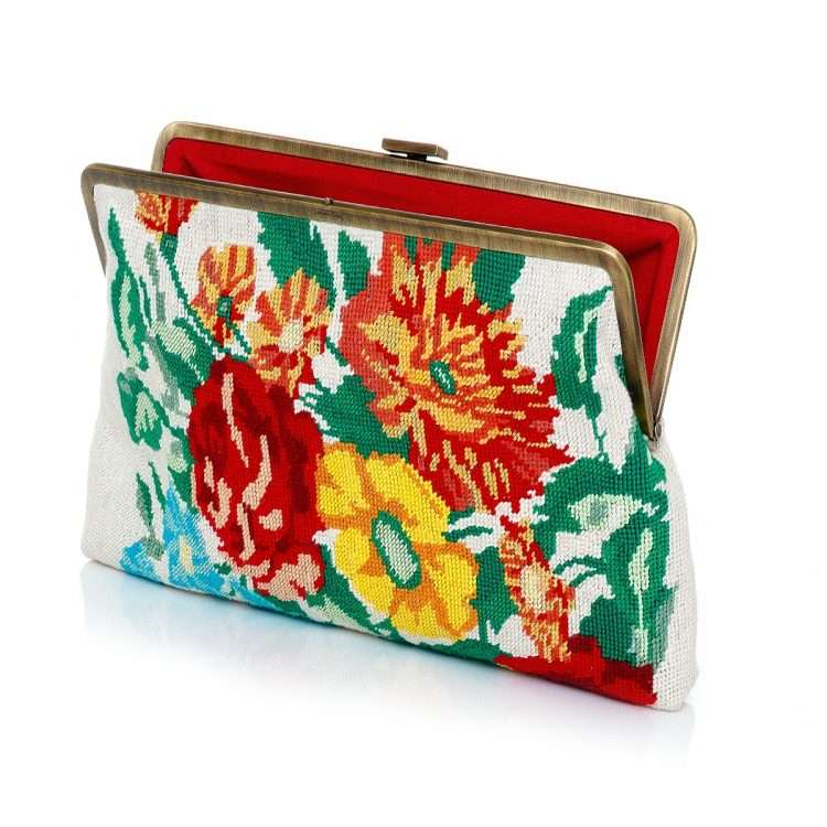 flowers canvas clutch me bags multicolor neutrals classic day handwork essentials open