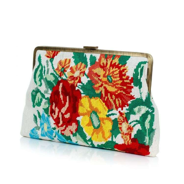 flowers canvas clutch me bags multicolor neutrals classic day handwork essentials side
