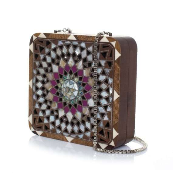 mandala radiant bags straw/wood evening novelty oriental side