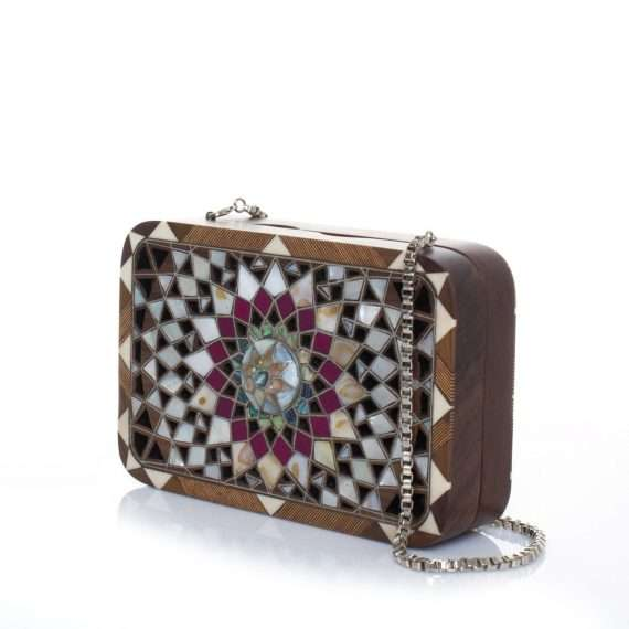 mandala bags straw/wood evening novelty oriental side