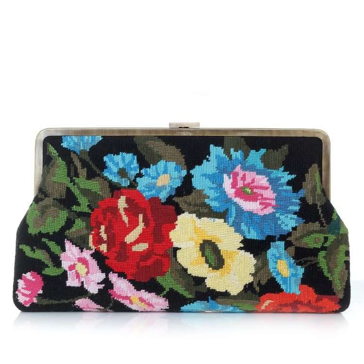 flowers black canvas clutch me bags black multicolor classic day handwork essentials front