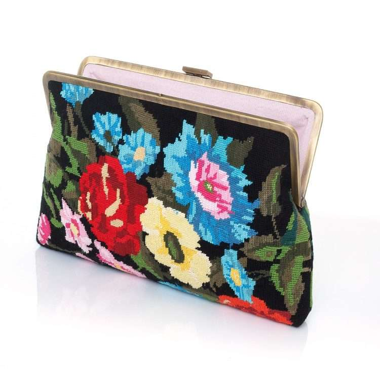 flowers black canvas clutch me bags black multicolor classic day handwork essentials open