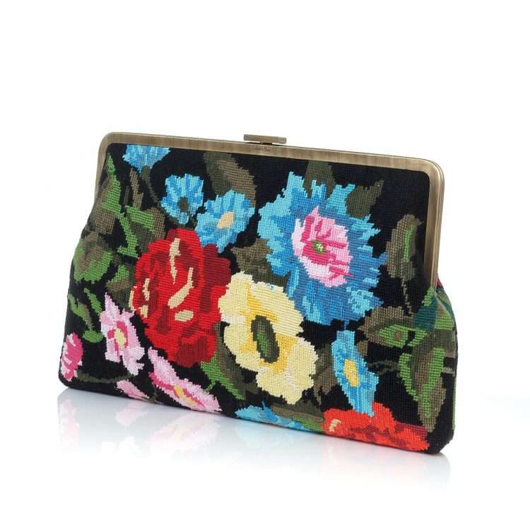 flowers black canvas clutch me bags black multicolor classic day handwork essentials side