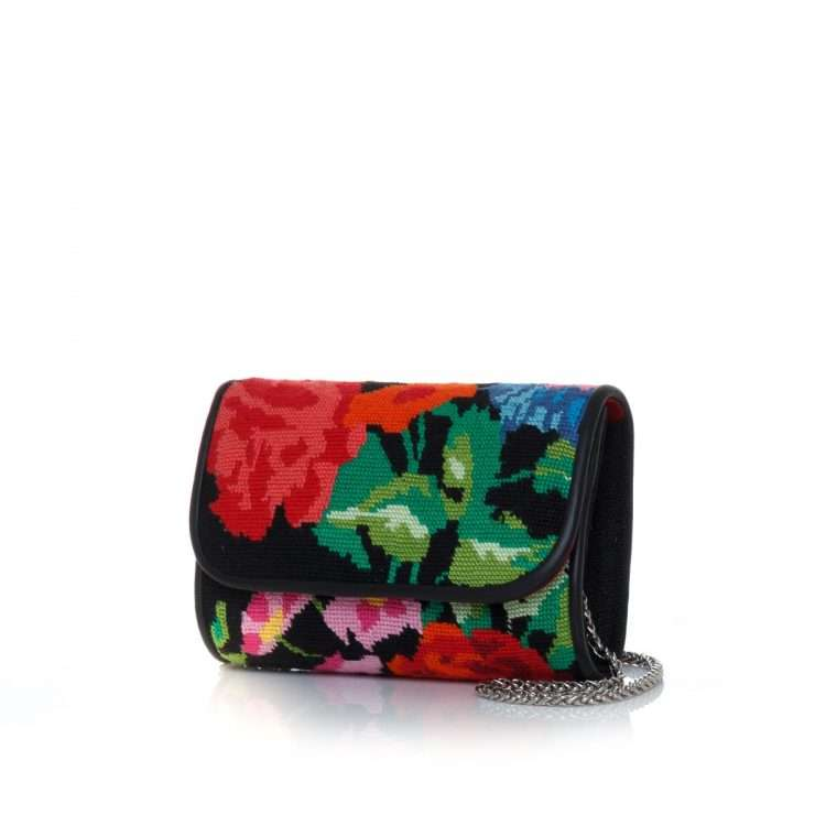 flowers black canvas curved bags black multicolor curved day handwork essentials side