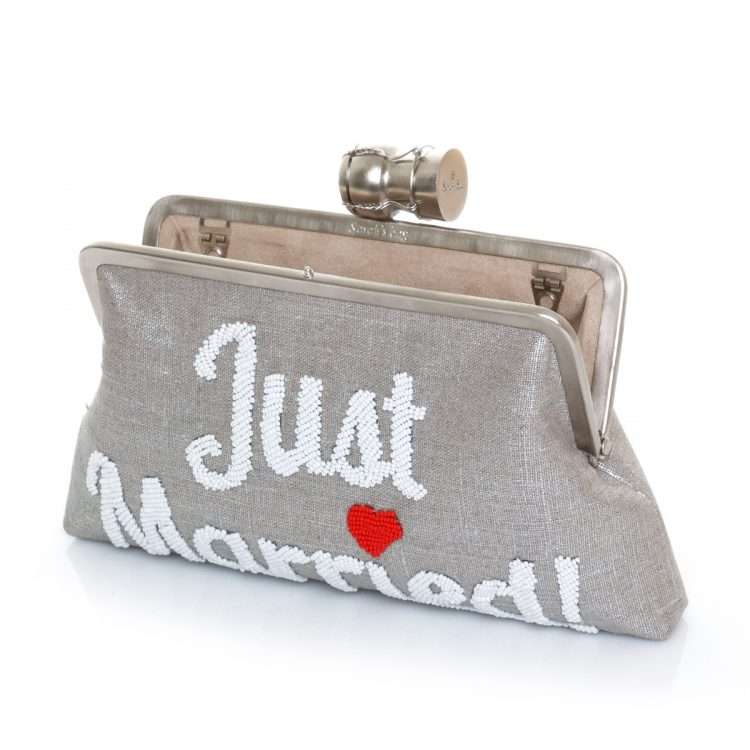 champagne just married silver classic bags metallic silver classic day handwork bridal open