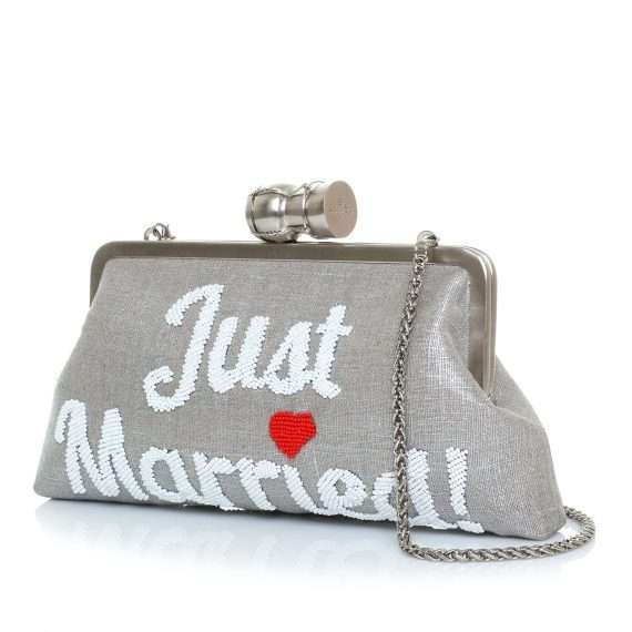 champagne just married silver classic bags metallic silver classic day handwork bridal side