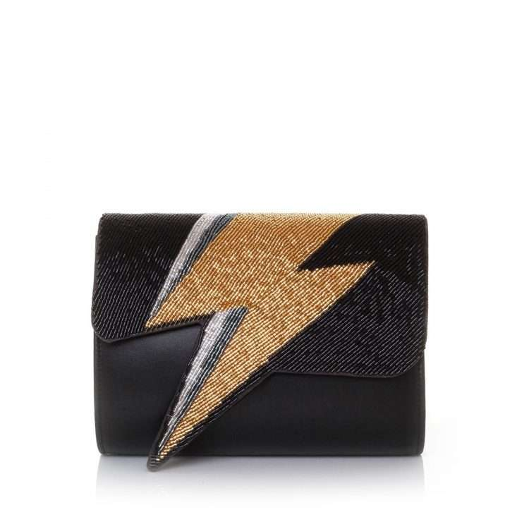 bowie gold on black bags black gold evening handwork discotheque front