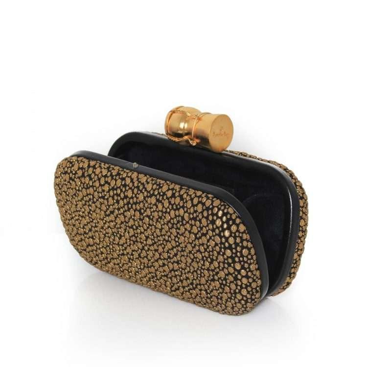 bubbly box bags black gold metallic box evening essentials open