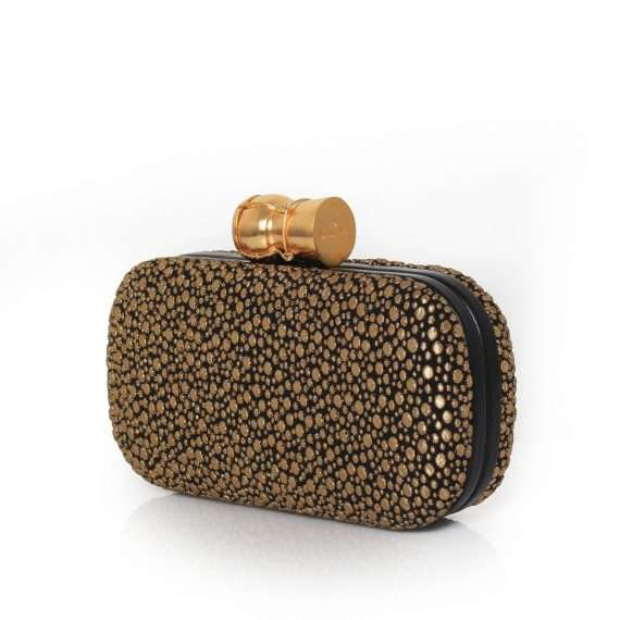 bubbly box bags black gold metallic box evening essentials side