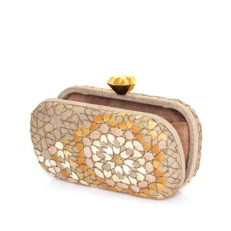 arabesque gold thread box bags gold metallic box evening handwork oriental open