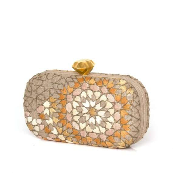 arabesque gold thread box bags gold metallic box evening handwork oriental side