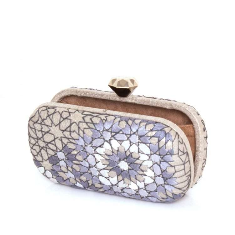 arabesque silver thread box bags metallic silver box evening handwork oriental open