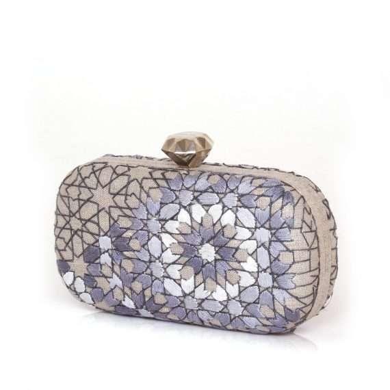 arabesque silver thread box bags metallic silver box evening handwork oriental side