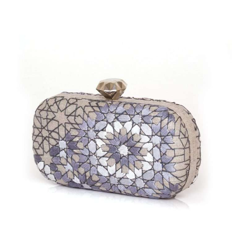 arabesque silver thread box bags metallic silver box evening handwork oriental side