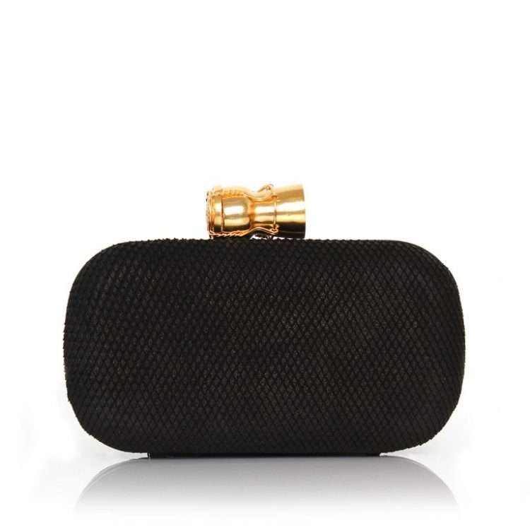 CHAMPAGNE BLACK LEATHER BOX FRONT