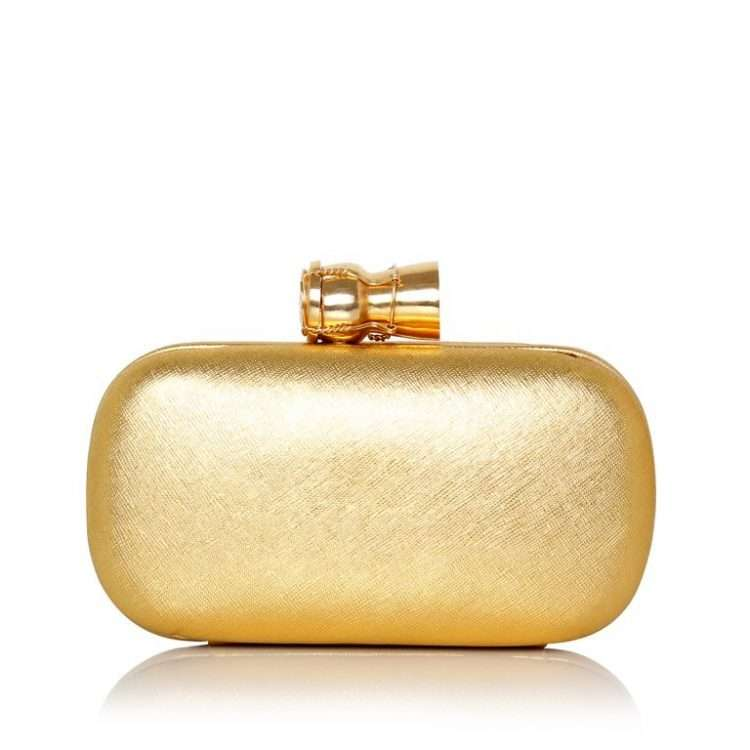 CHAMPAGNE GOLD LEATHER BOX FRONT