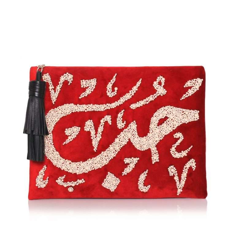 HOBB LOULOU RED VELVET POUCH FRONT